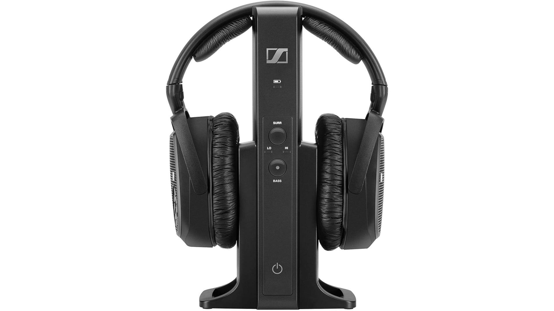 Black Kleer audio wireless over-ear headphones with receiver
