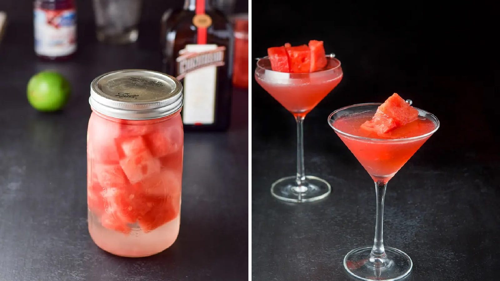 Two images of ingredients used to make watermelon cosmos including the left image which features infused watermelon vodka, and the right image is of two watermelon cosmos.