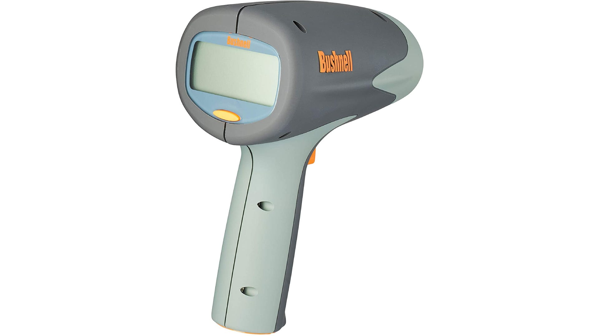 Black and gray radar gun with large LCD display and point and shoot functionality