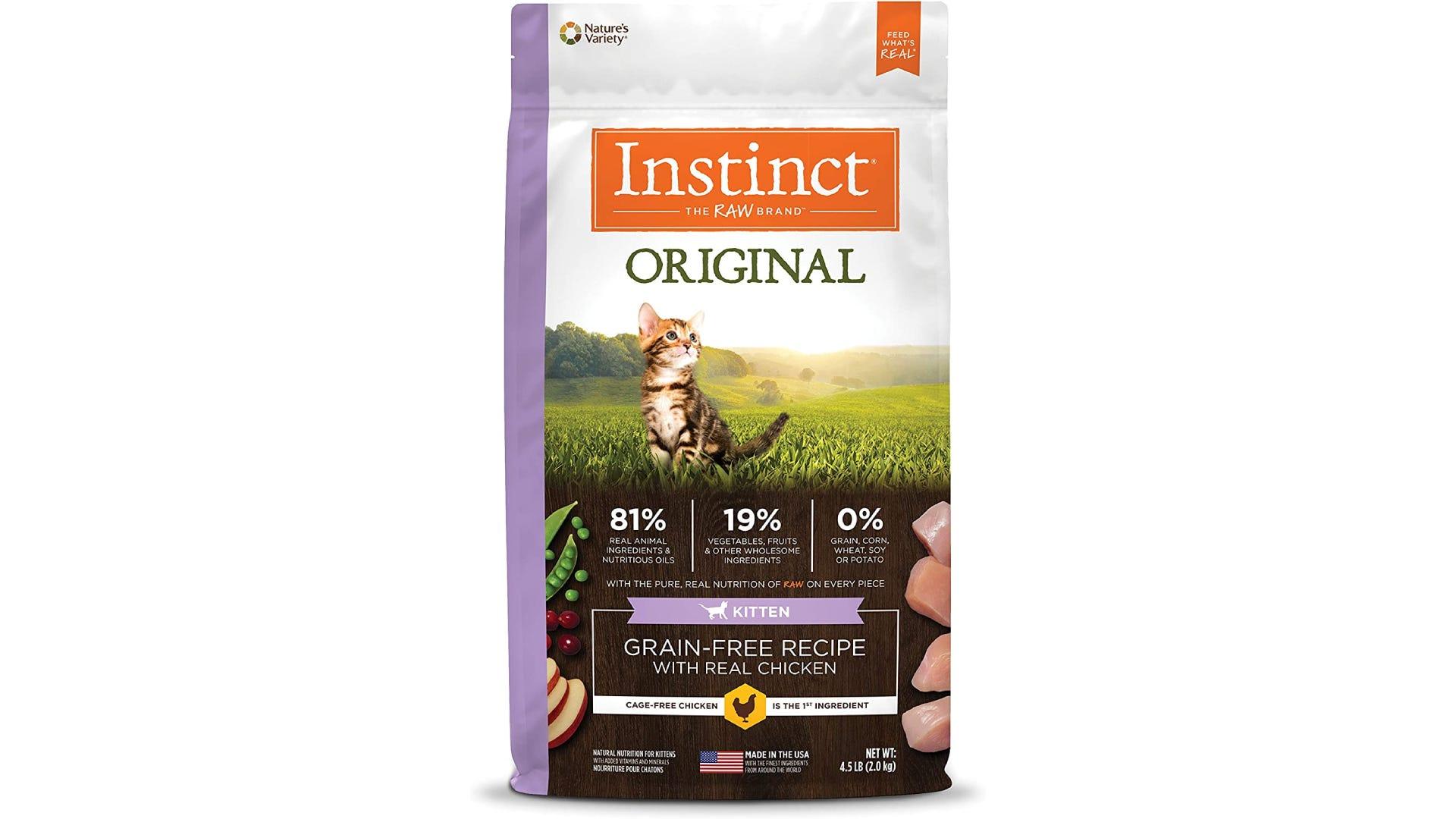 a bag of Instinct original cat food for kittens