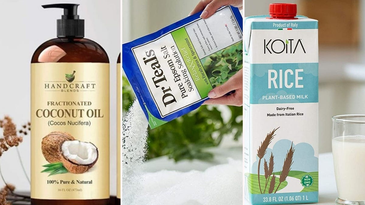 A bottle of Handcraft Blends Cococut Oil, someone pouring Dr Teal's Epsom Salts in a bathtub, and a bottle of Koita Rice Plant-based Milk.