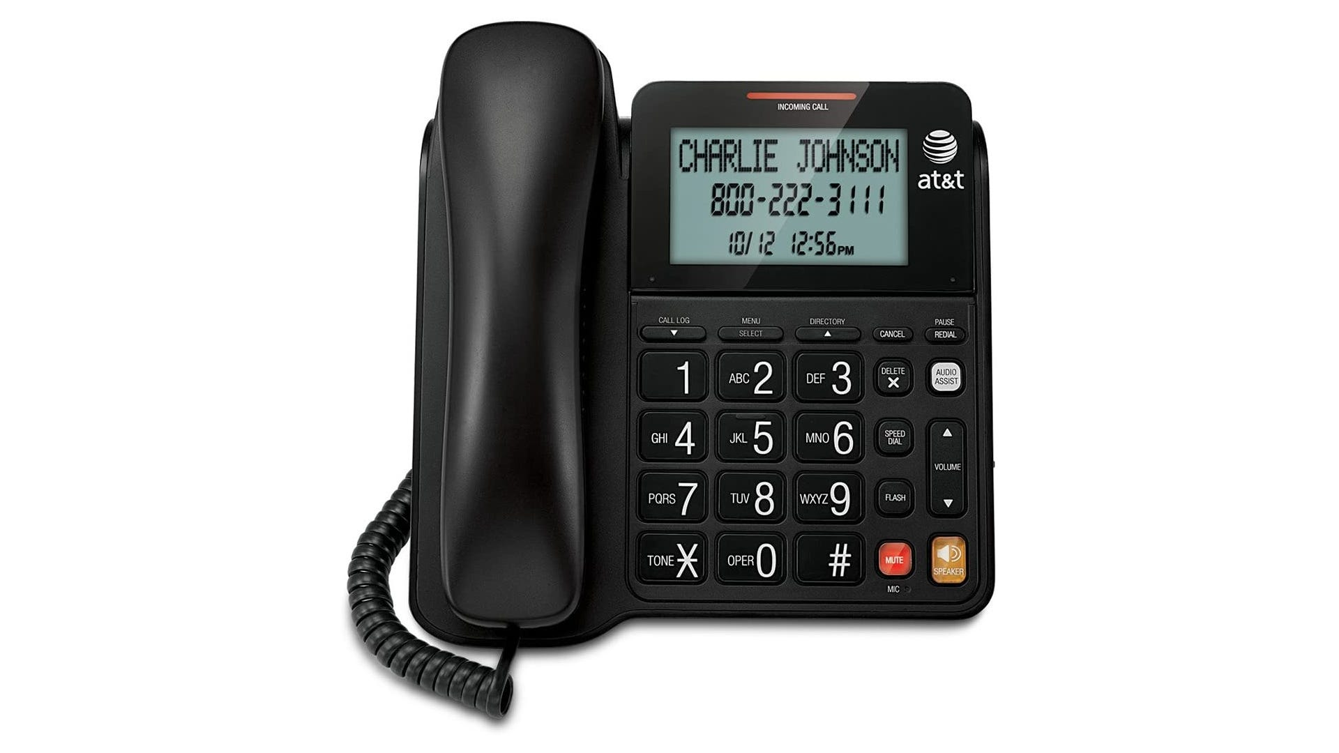a black at&t corded phone with a digital screen and flat buttons