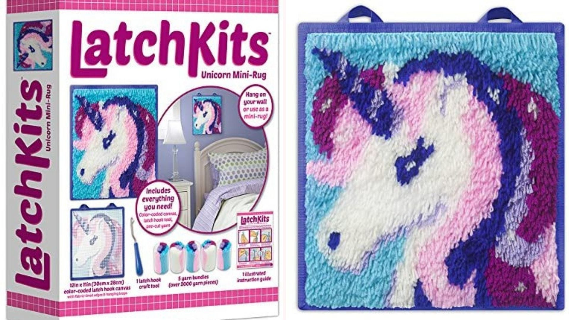 a LatchKits unicorn mini-rug kit in box and completed