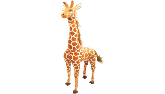 A 50-inch tall giraffe that features large marble eyes, a feathery-brown mane and tail, and animal-accurate molding along its face.