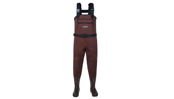 A pair of neoprene fishing waders that features a deep brown color across its body, as well as protective pads on each knee, a waterproof chest pocket, and an adjustable waistband.