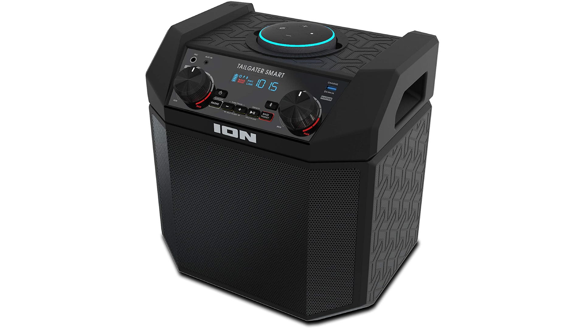 A large black speaker dock that features an Amazon Echo Dot slot at the top.