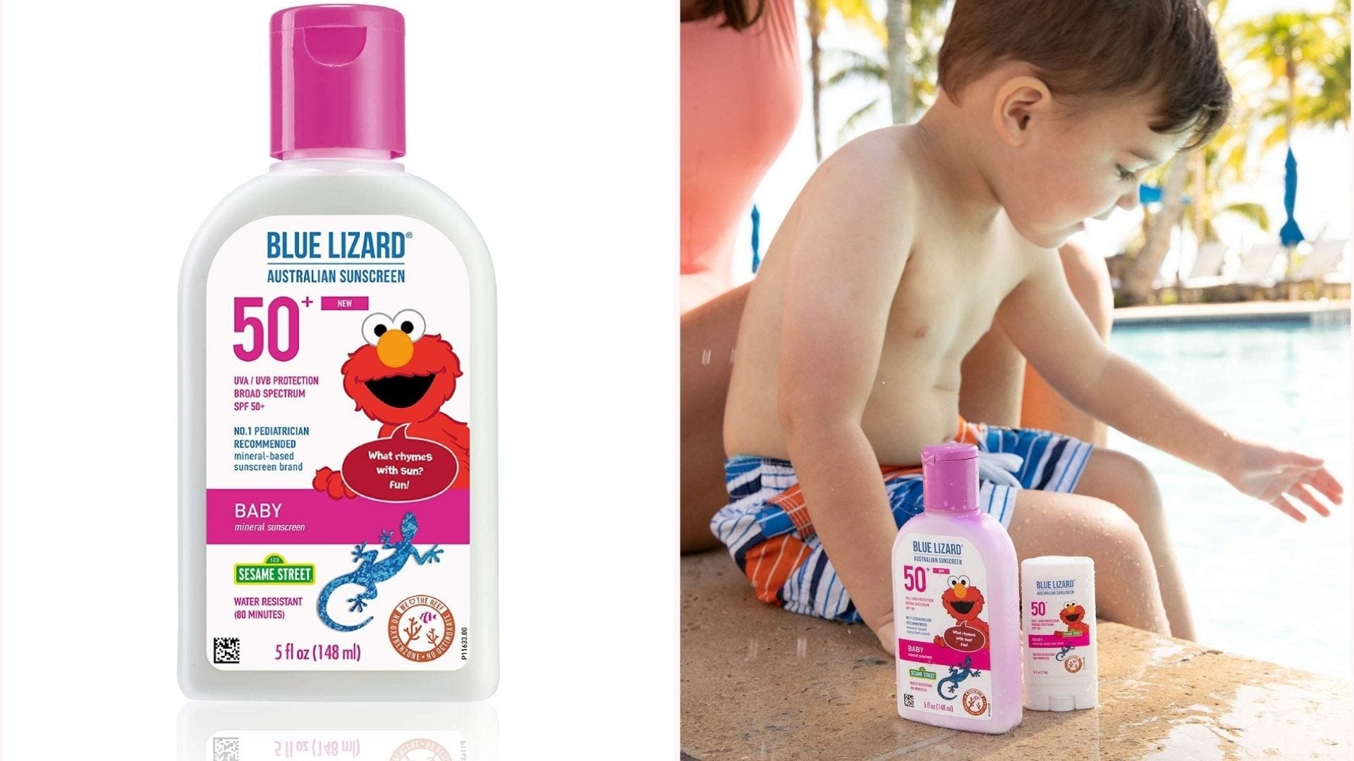 Blue Lizard Australian sunscreen with Elmo on the front of the bottle; a bottle rests by a young child sitting by a pool