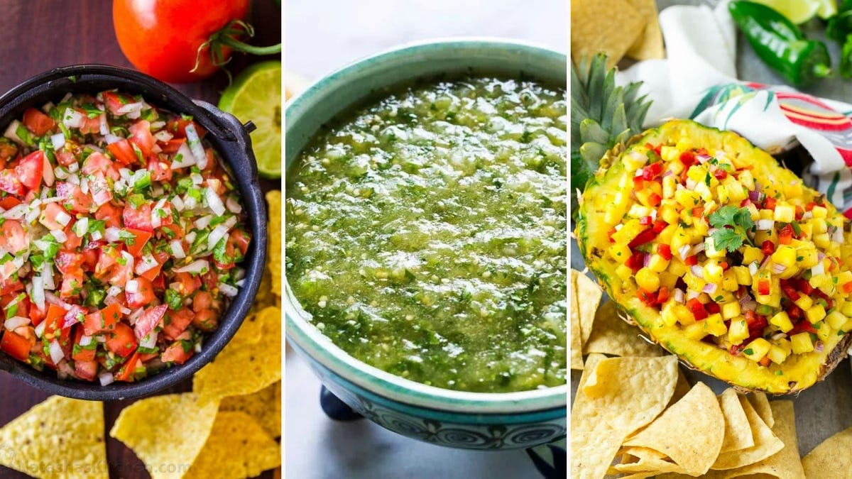A bowl of pico de gallo by Natasha's Kitchen, a bowl of tomatillo salsa verde by Simply Recipes, and pineapple salsa by Dinner at the Zoo.