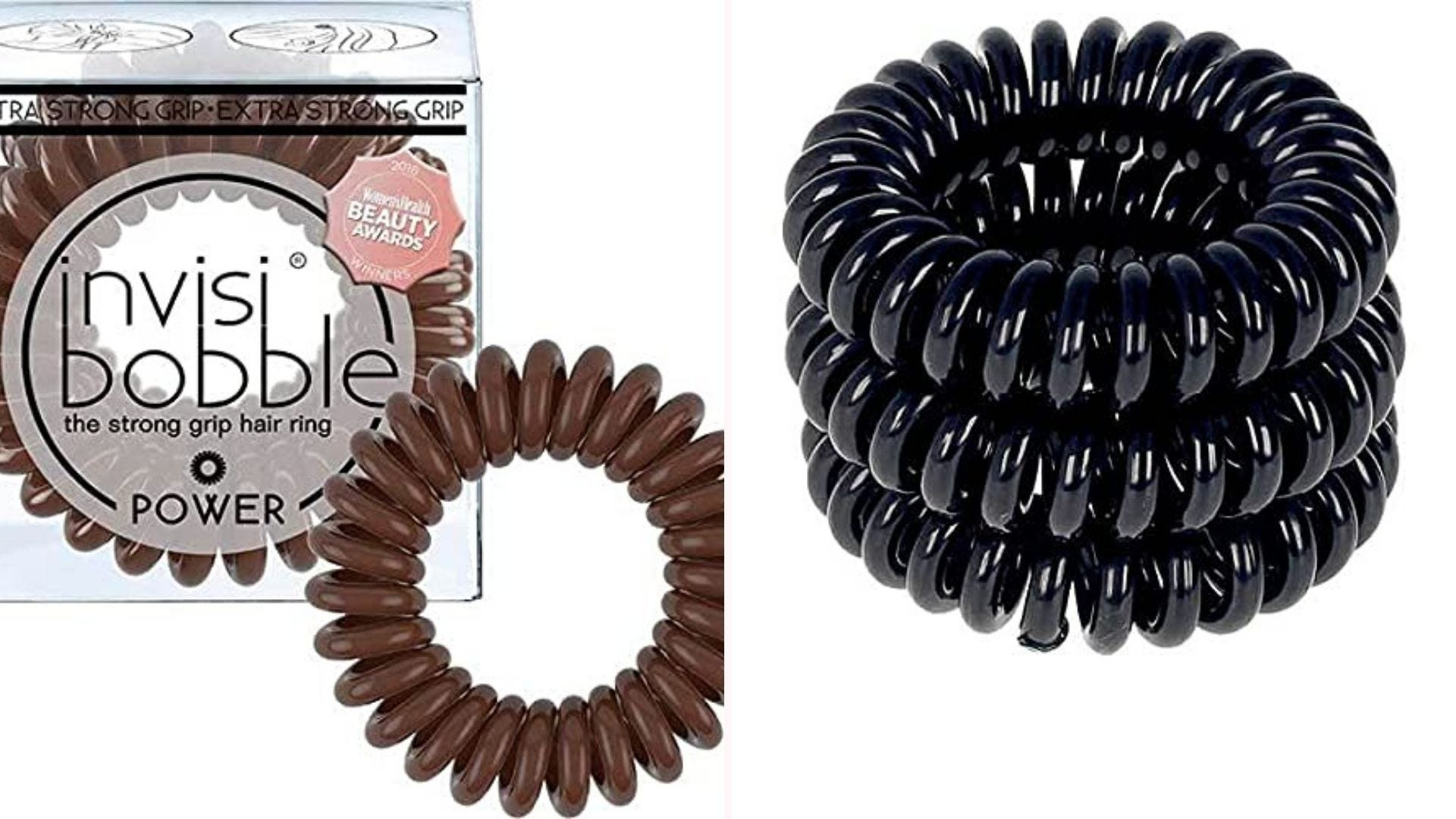 Invisibobble hair ties in brown and black.