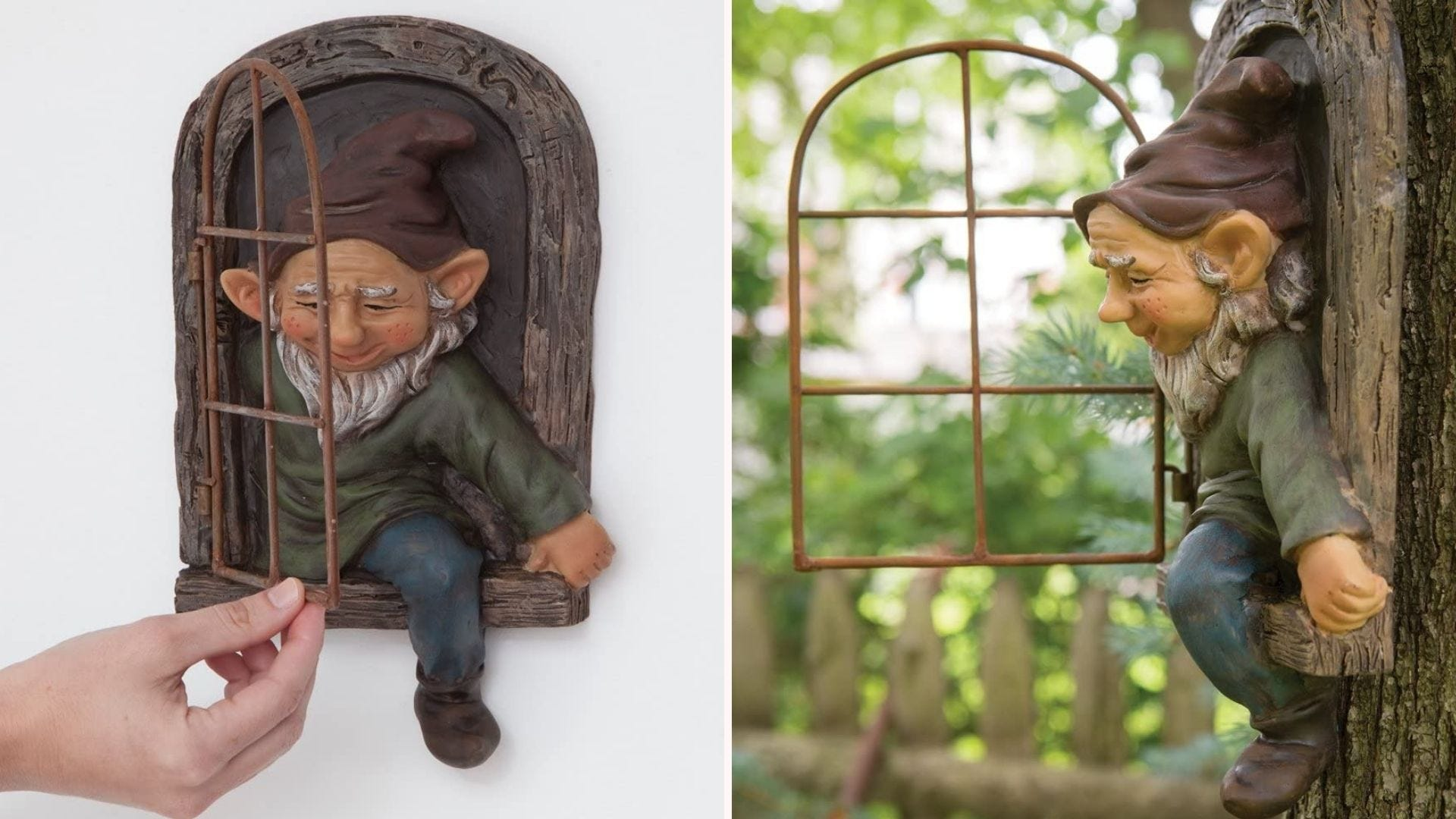 Garden gnome exiting a window statue that's fixed to the trunk of a tree