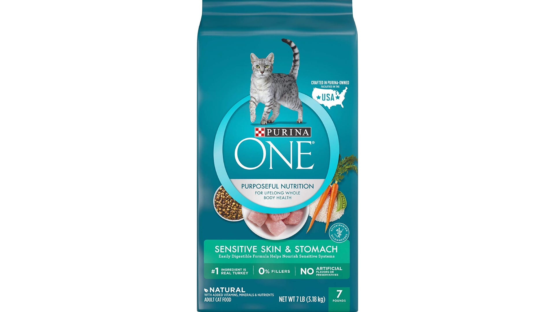 blue bag of PURINA ONE dry cat food for sensitive skin and stomachs