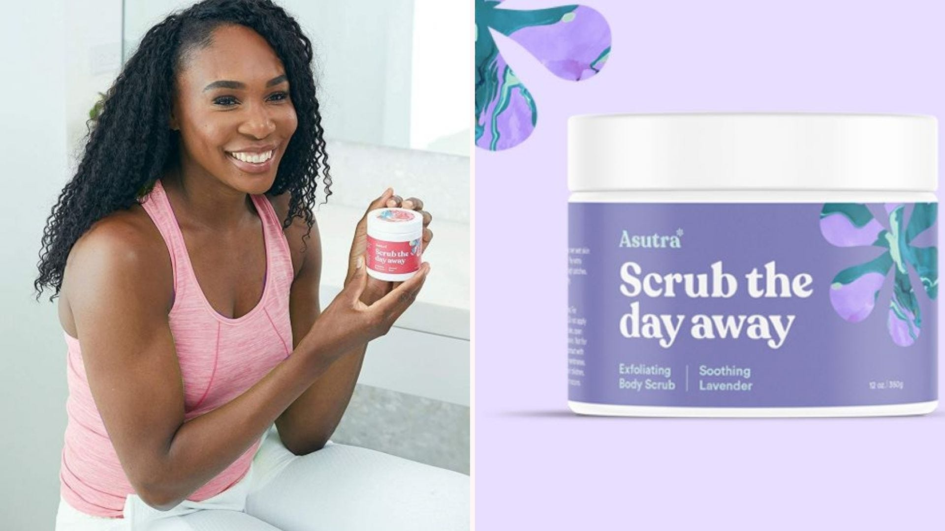 A woman holding a jar of ASUTRA Dead Sea Salt Body Scrub Exfoliator in Rose, and a jar of the Soothing Lavendar.