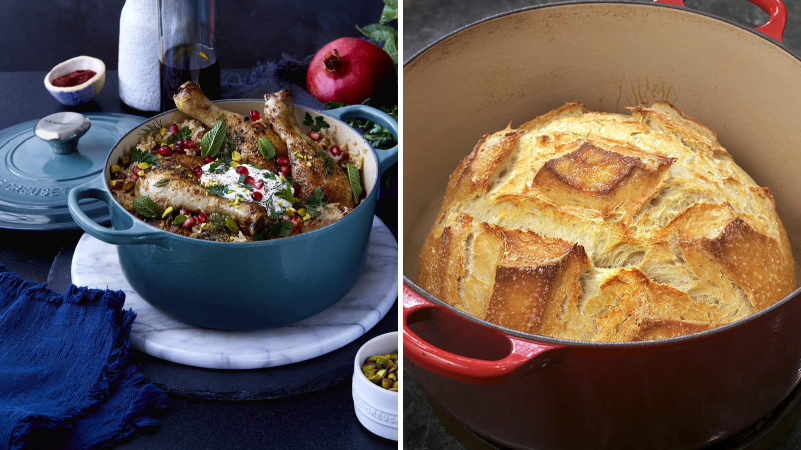 Two images featuring the Le Creuset; The left image features a chicken pomegranate dinner, ready to be served and the right image demonstrates the Dutch ovens ability to create a gorgeous artisan loaf of bread.