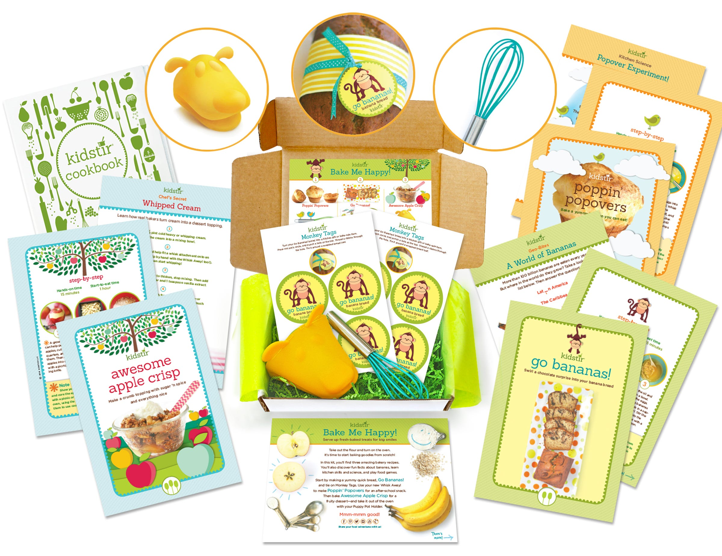 A subscription box with cooking utensils and recipe cards