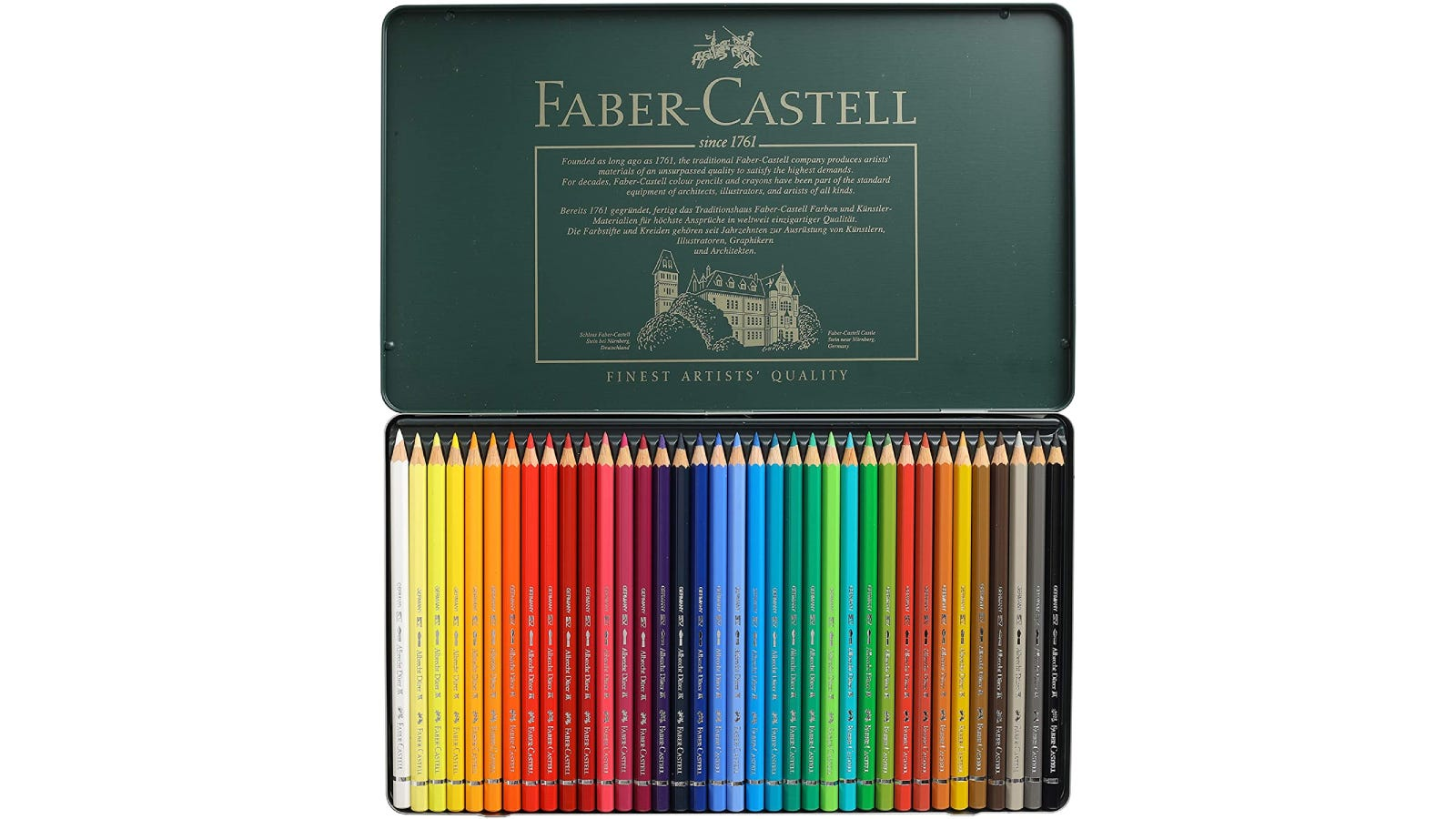 Open Faber-Castell box showing inside of lid at top and row of watercolor pencils at bottom