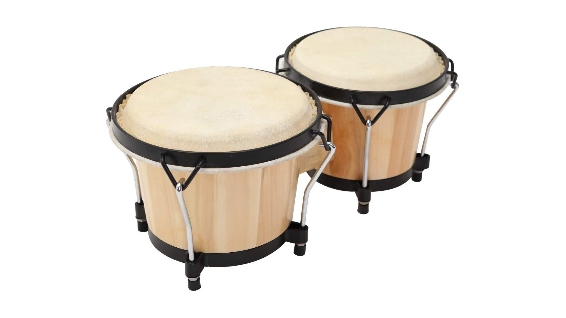 A wood MUSICUBE Bongo drum set with black trim is displayed against a white background.