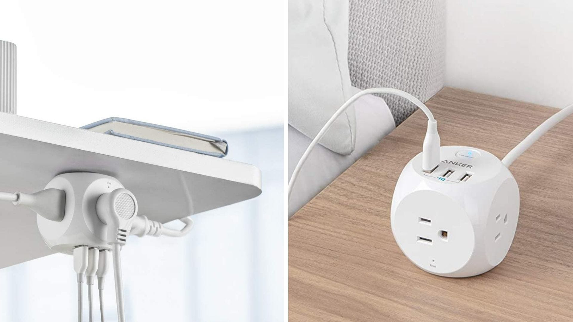 A multi-use charger is attached to the underside of a table and sits on top of a table