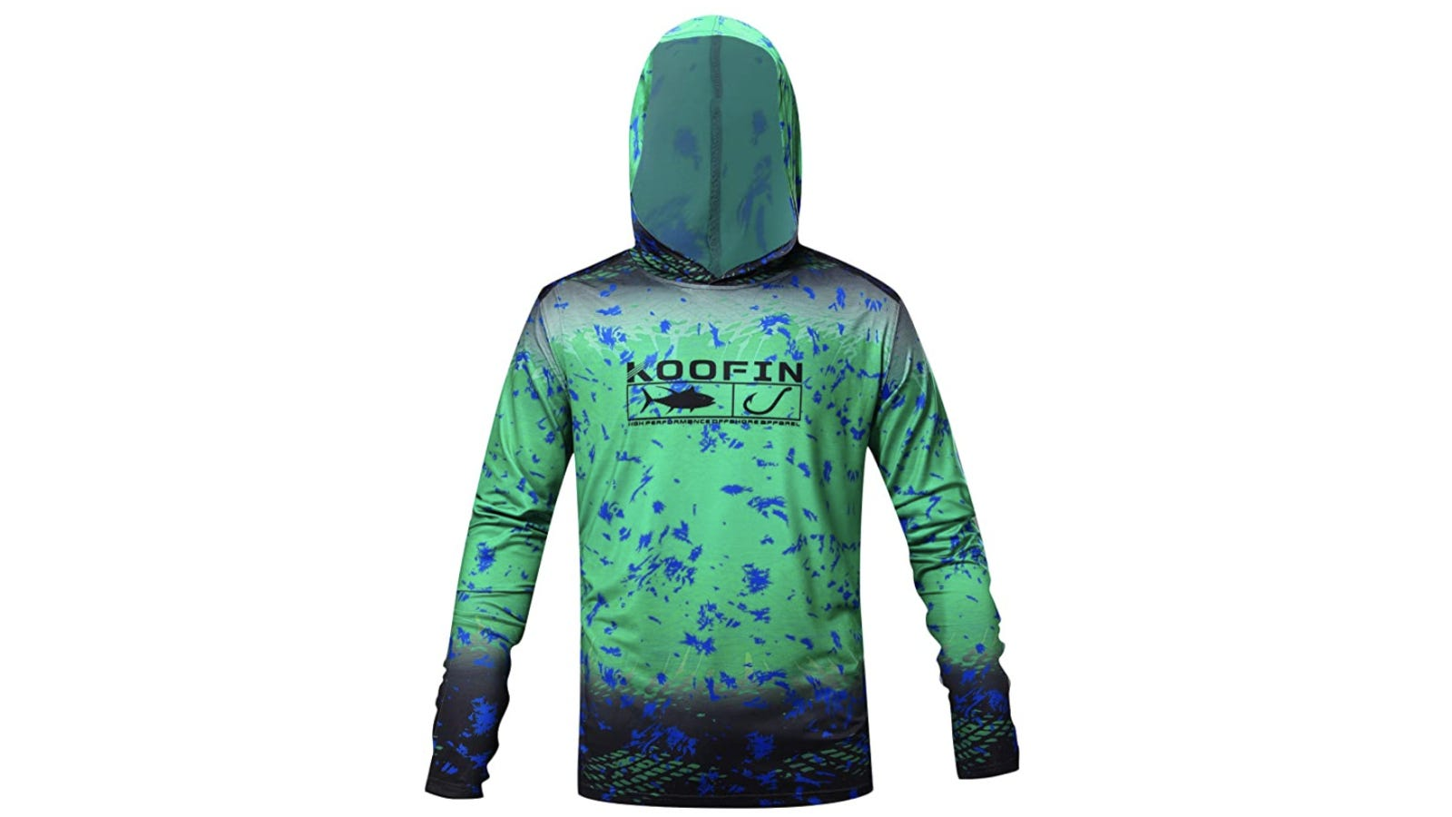 A long-sleeve shirt with a hoodie that's crafted from polyester material and features a variety of blue color patterns and an illustration of a fish and hook across the chest.
