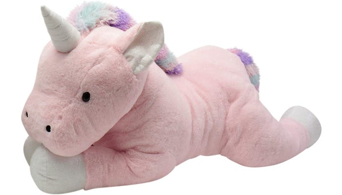 A 44-inch unicorn with a light pink coat, white hooves, and a multicolor mane and tail.