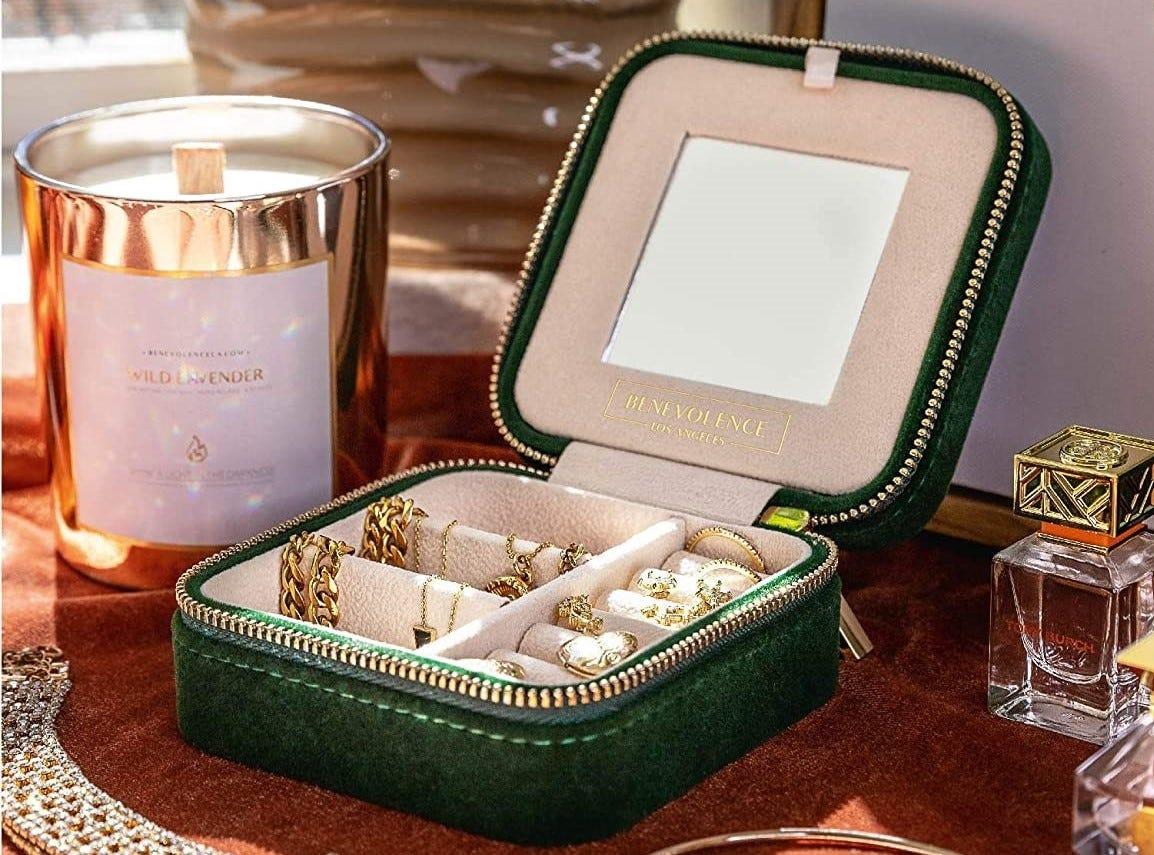 The Benevolence LA Plush Velvet Travel Jewelry Box.