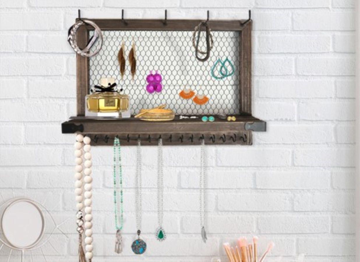 The Outshine Farmhouse Wall Jewelry Organizer