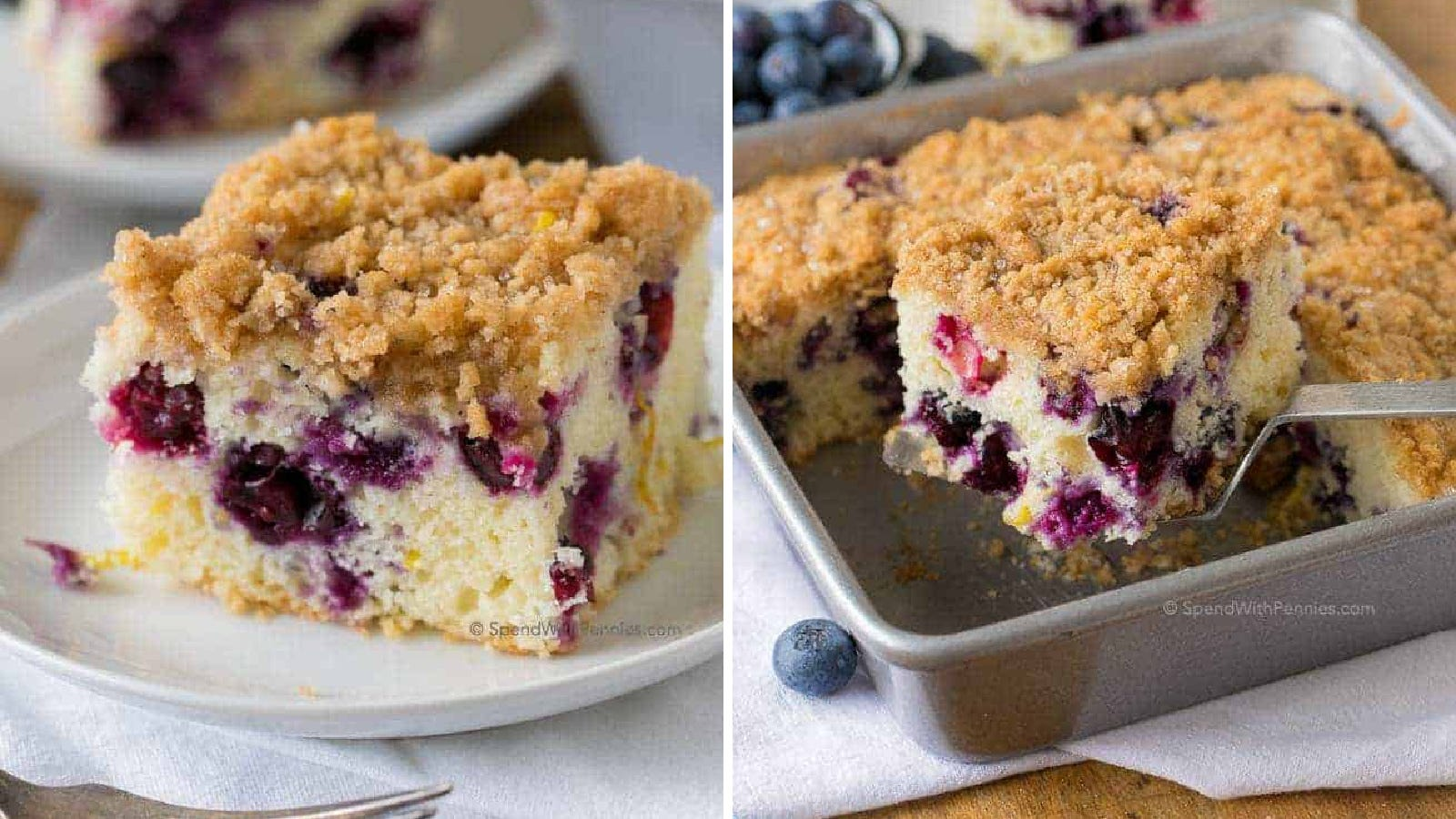 Two images of blueberry buckle, topped with streusel. The left image is of buckle on a white plate, and the right image is of a piece of buckle being removed from a baking pan.