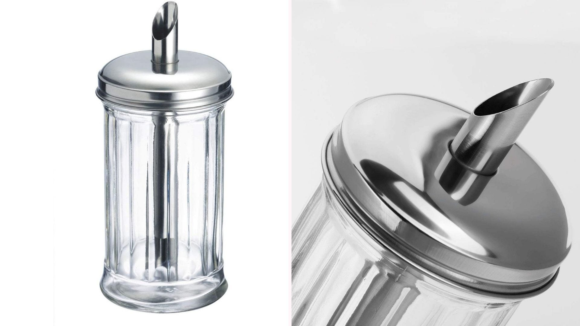 a ridged cylindrical glass sugar dispenser with a stainless steel lid and straw spout for pouring