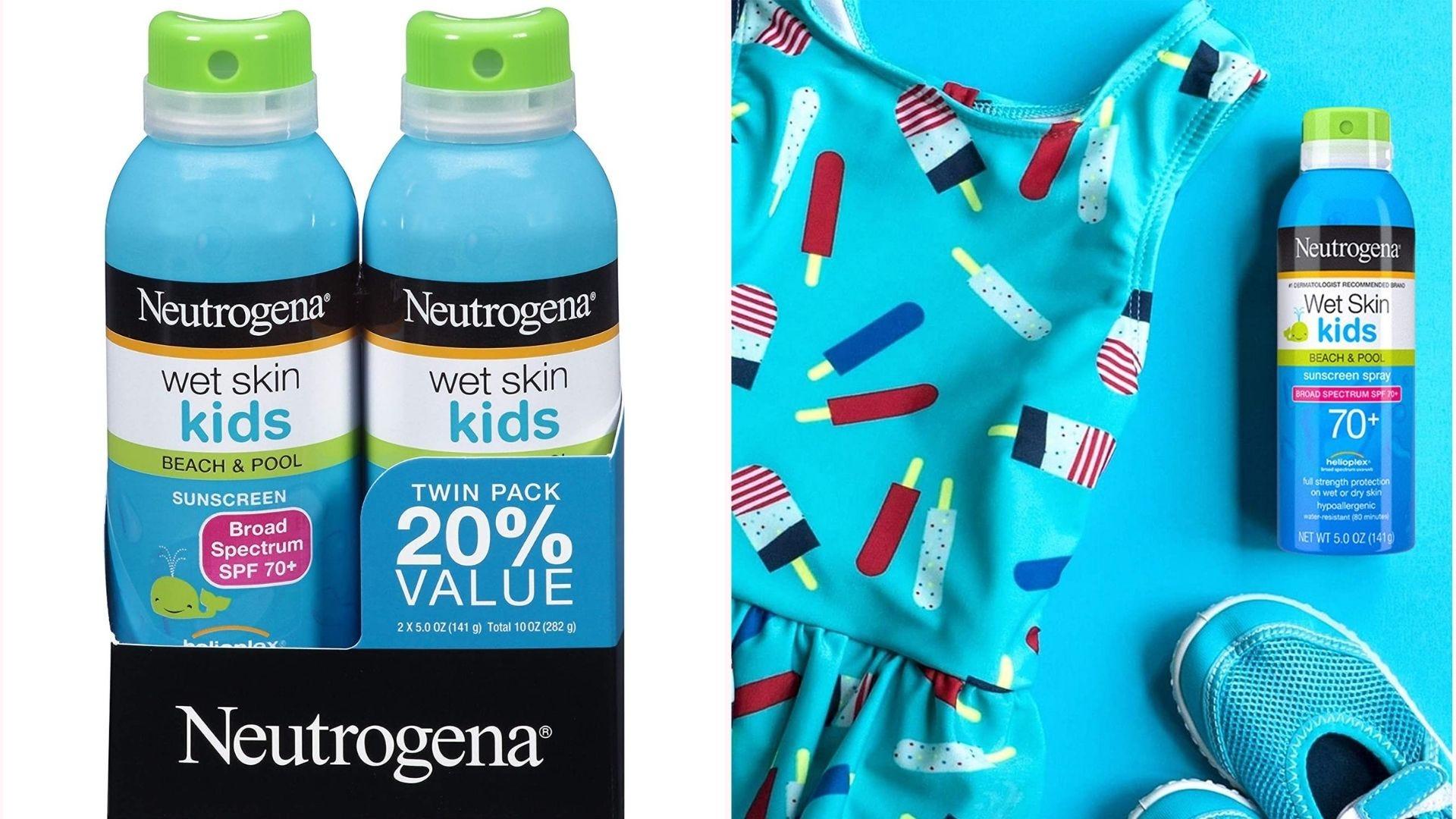 a two-pack of Neutrogena Kids Wet Skin spray sunscreen; a bottle lies next to a swimsuit