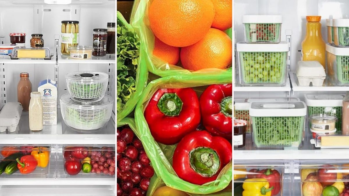 Two OXO Salad Spinners in a fridge, fruits and vegetables in Debbie Meyer GreenBags, and fruits and veggies in OXO GreenSaver containers in a fridge.