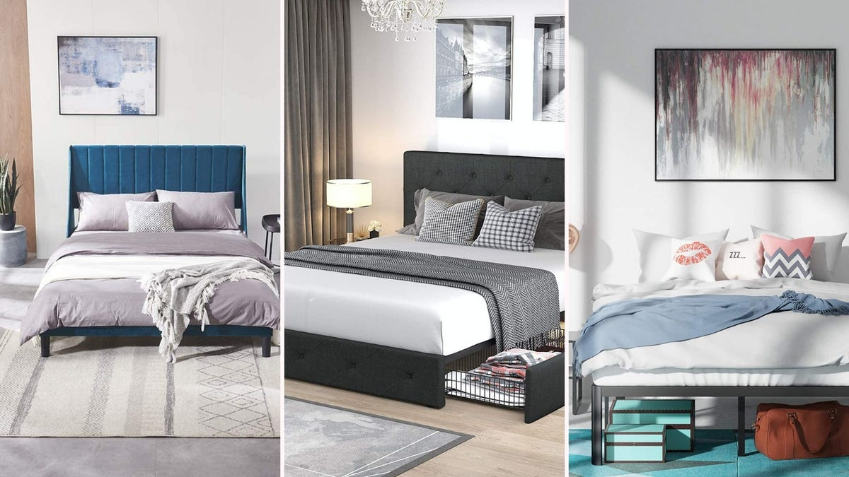 three platform bed frames with made beds; two have upholstered headboards, one is fully metal