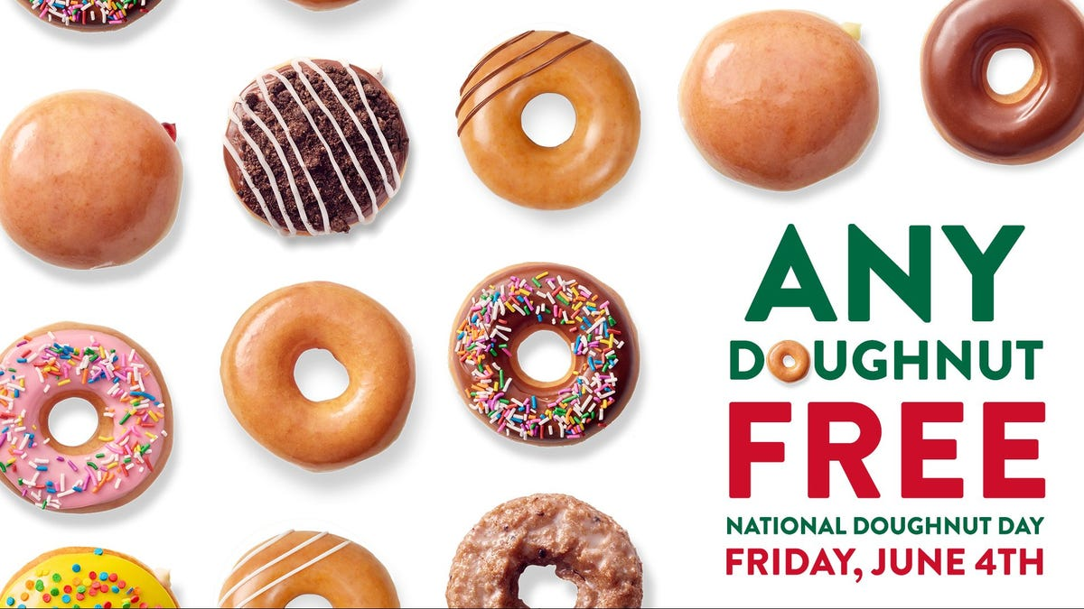 An ad shows different versions of Krispy Kreme's doughnuts with text advertising free doughnuts.