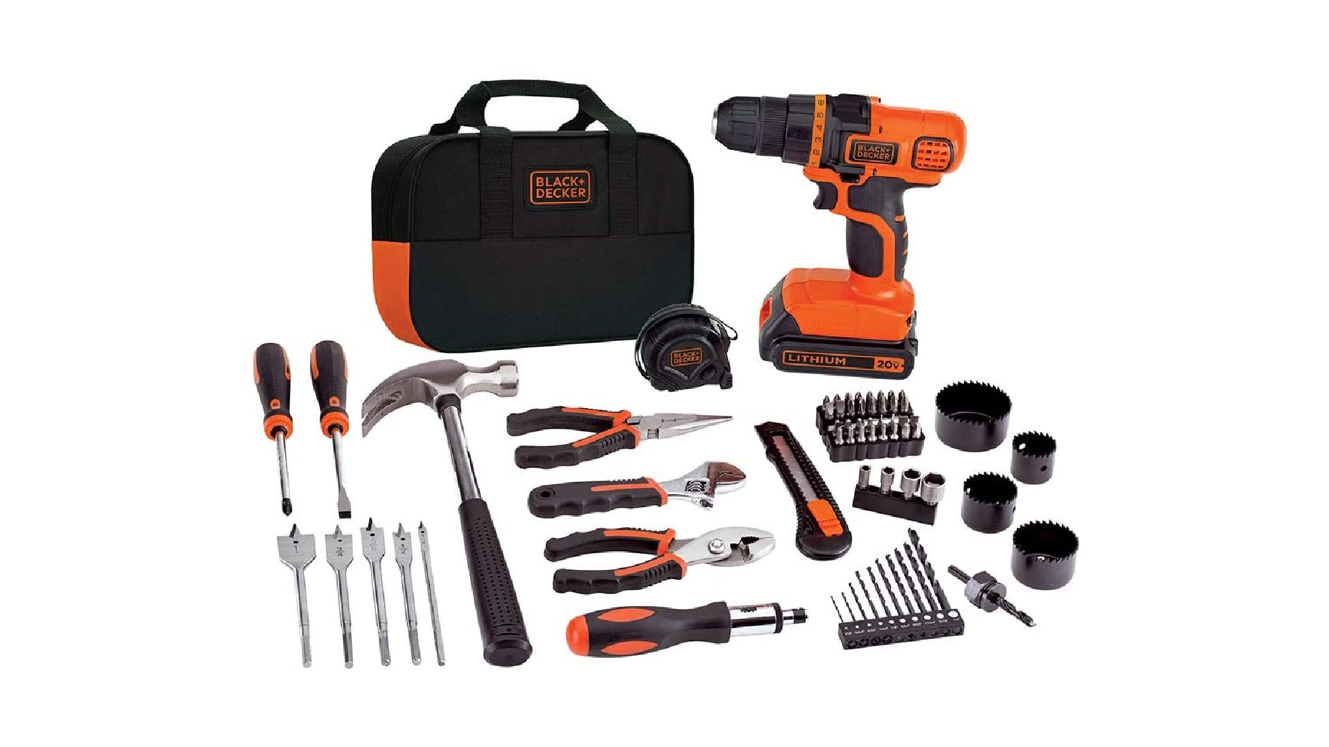 BLACK+DECKER 20V Max Drill + home tool kit including hammer, pliers, screwdrivers, and various bits and accessories