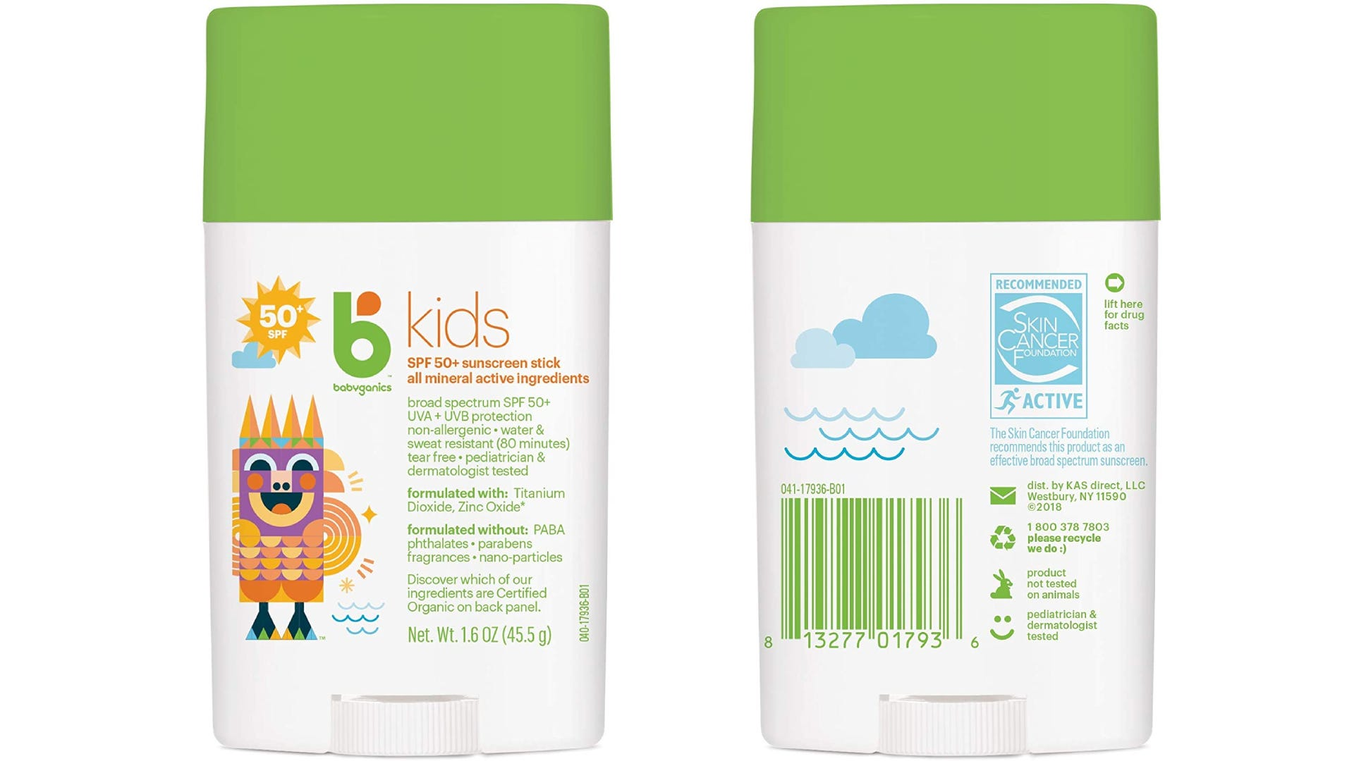 front and back view of Babyganics baby sunscreen stick container