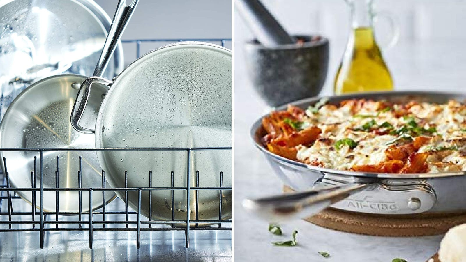 Two images featuring the All-Clad stainless steel skillets.