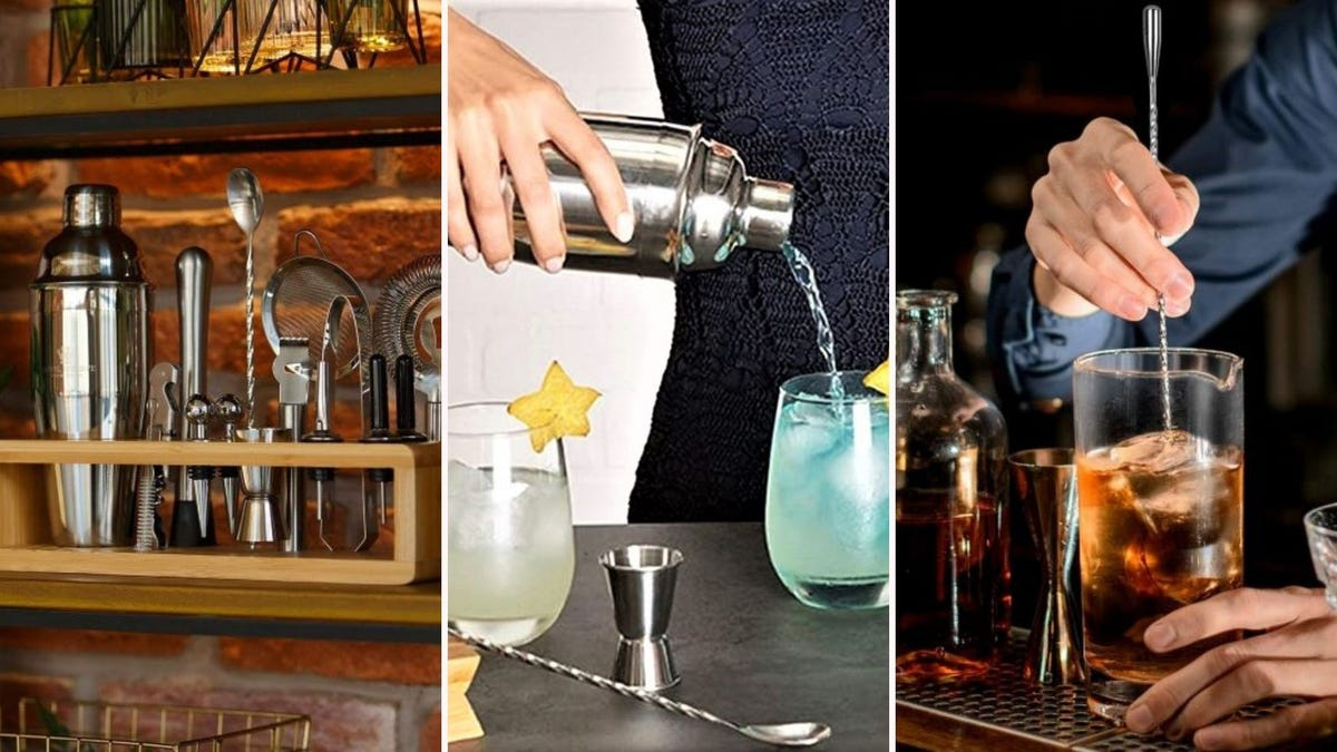 The Royal Reserve Shaker Set on a shelf, a woman pouring a blue cocktail into a glass out of the Cresimo cocktail shaker, and a man stirring a cocktail with the HIWARE mixing spoon.