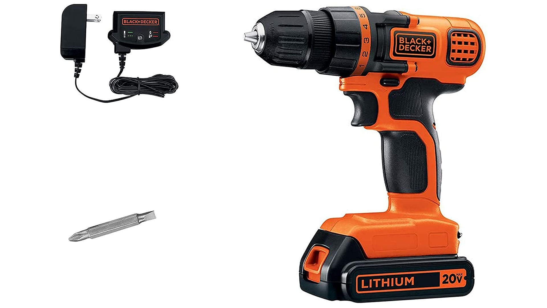 """Black and orange 20V cordless drill with 2 batteries, 1/2"""" metal chuck, and storage case"""