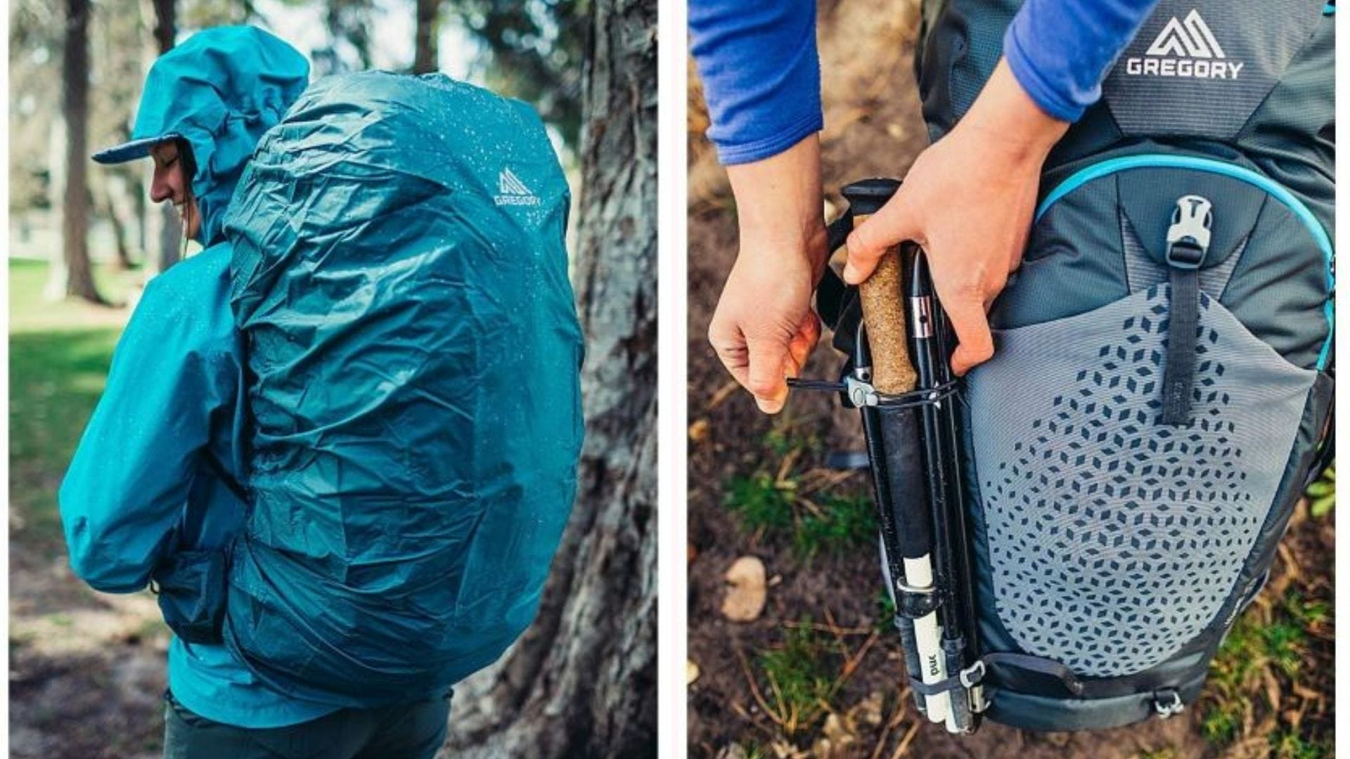 A woman wearing the Gregory overnight backpack with the rain cover over it, and someone packing hiking poles in the Gregory overnight backpack.