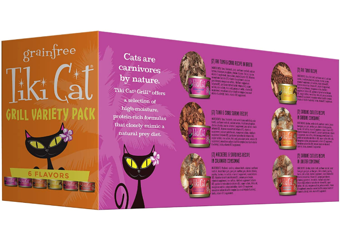 A orange and purple box of Tiki cat grill variety pack that features a black cartoon cat.