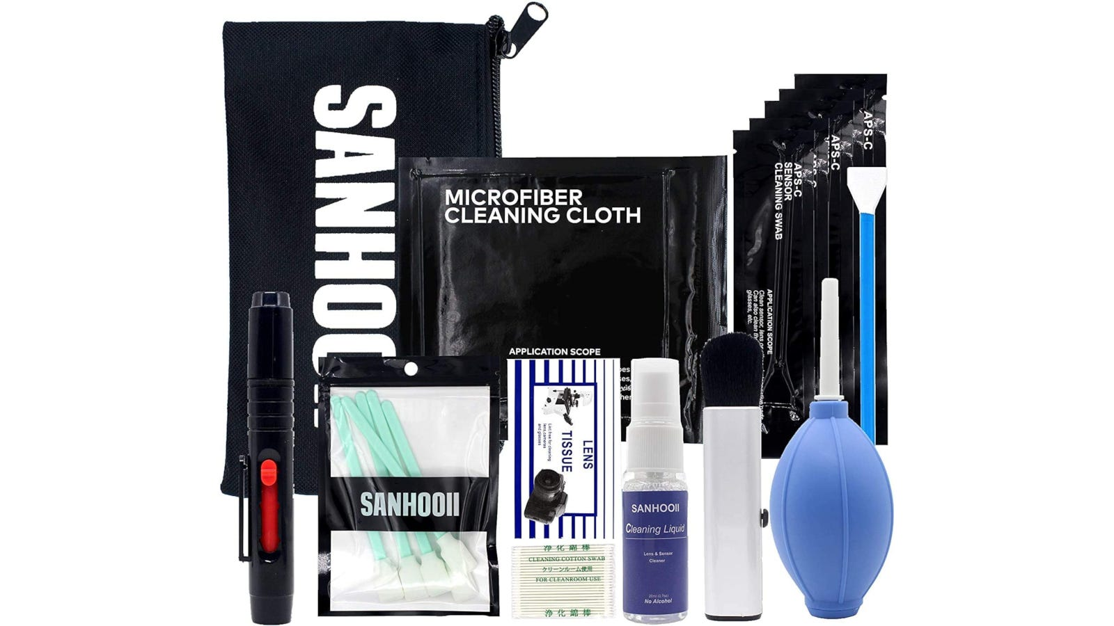 Camera lens cleaning kit with two types of swabs, air blower, cleaning pen, and more