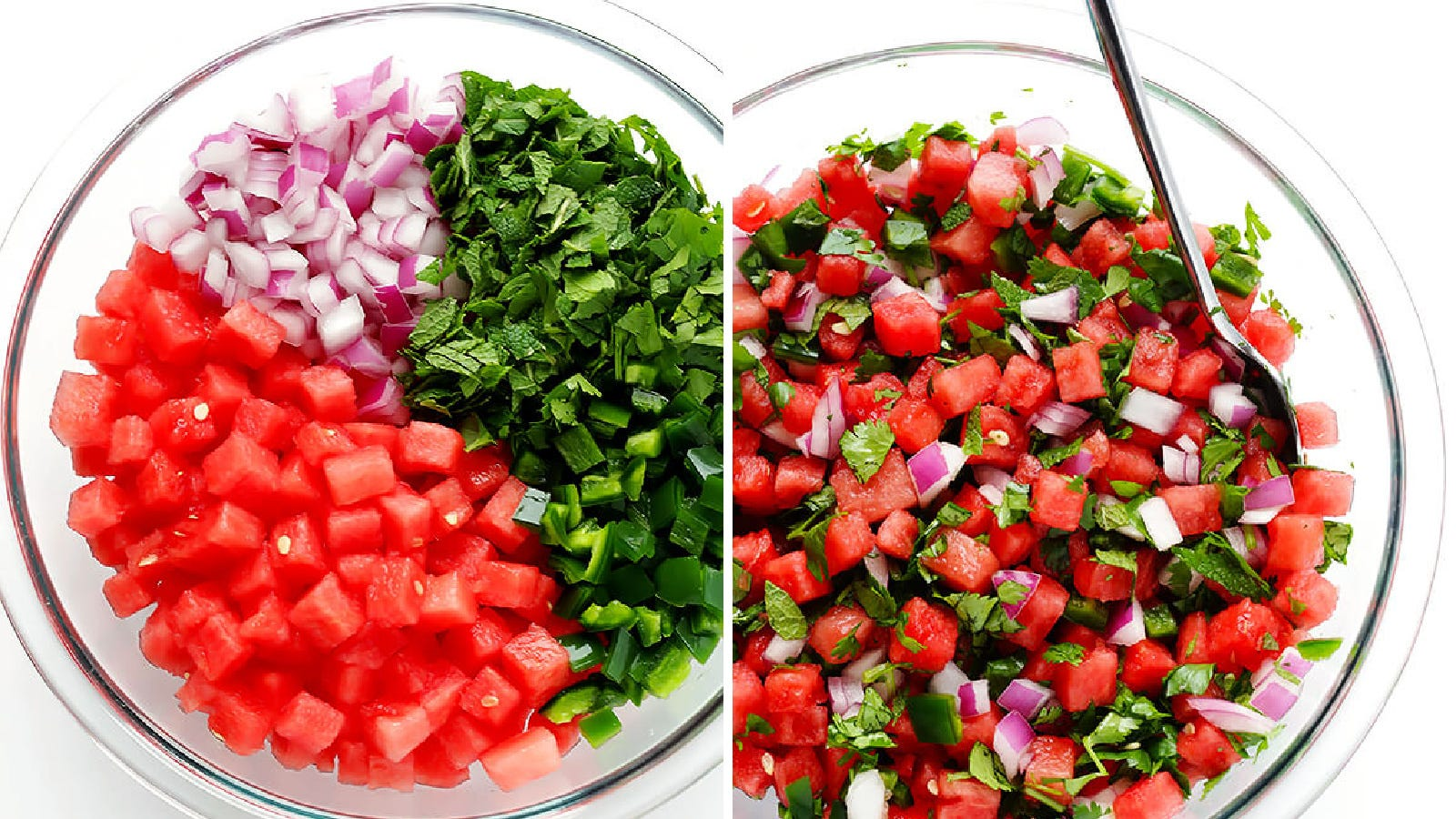 Two images of watermelon salsa; the left image is before the salsa is mixed and the right image is the finished product.