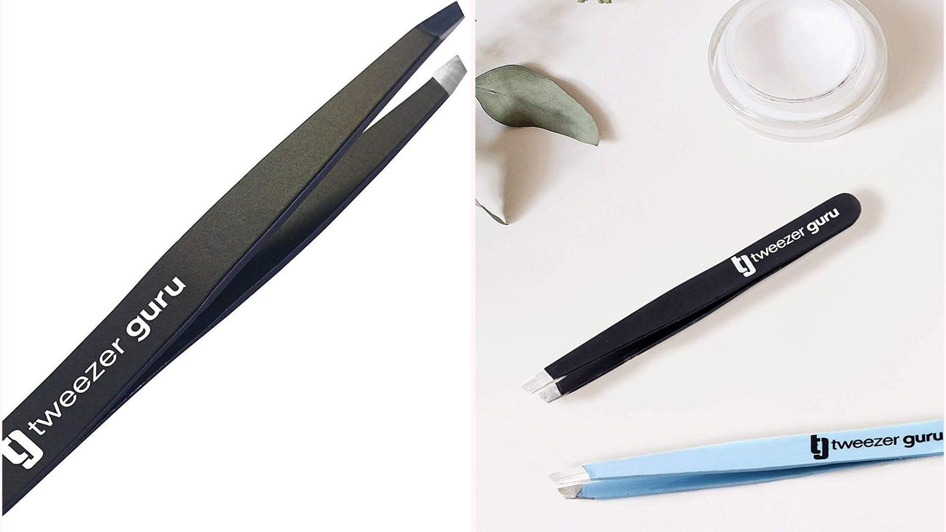 small black and blue metal tweezers