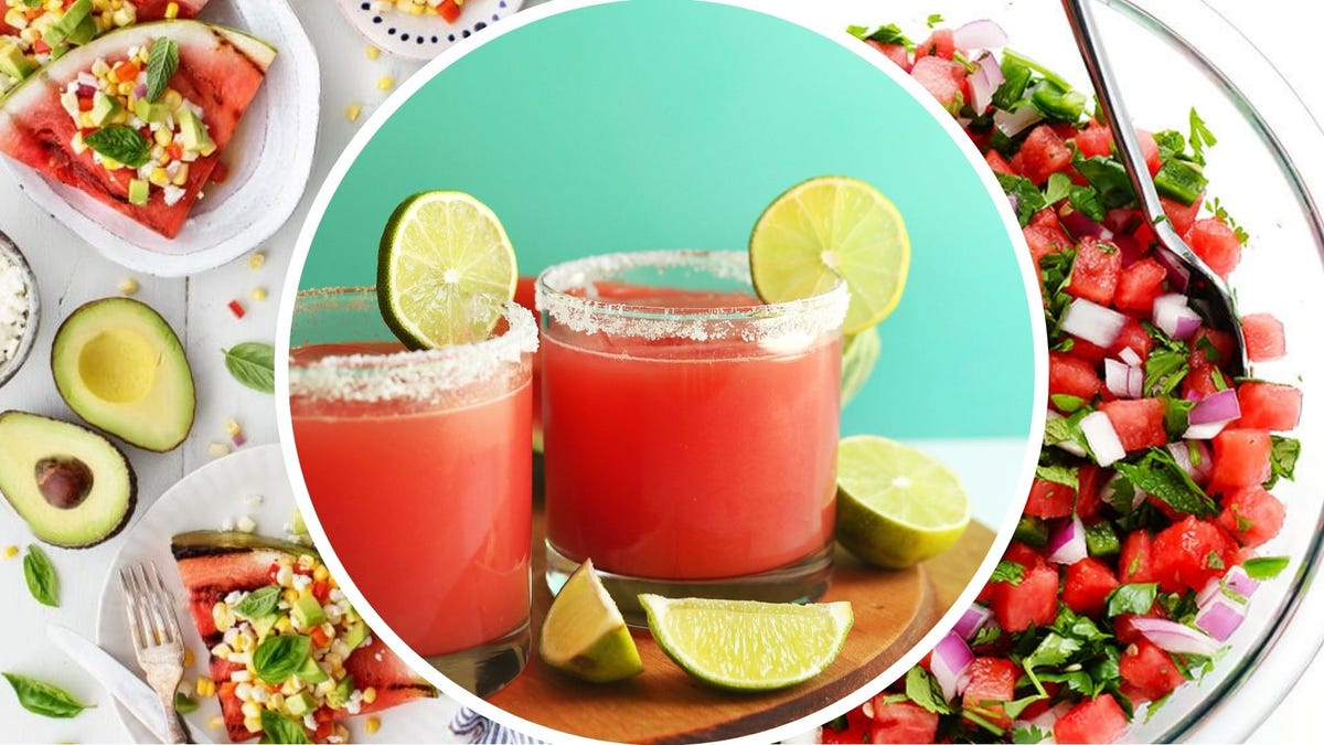 Grilled watermelon from Love & Lemons, two watermelon margaritas by Minimalist Baker, and watermelon salsa by Gimme Some Oven.