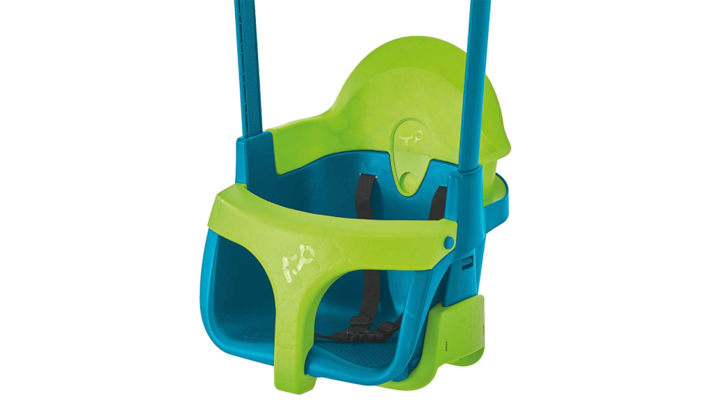 an adjustable green and blue baby swing
