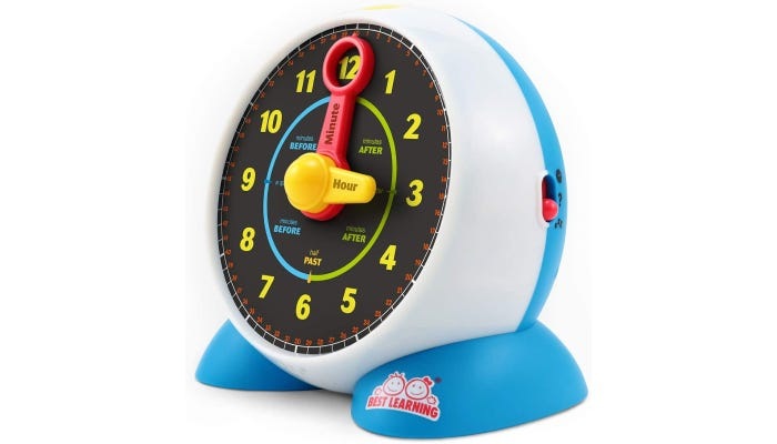 Self-standing alarm clock with black clock face and yellow and red hands