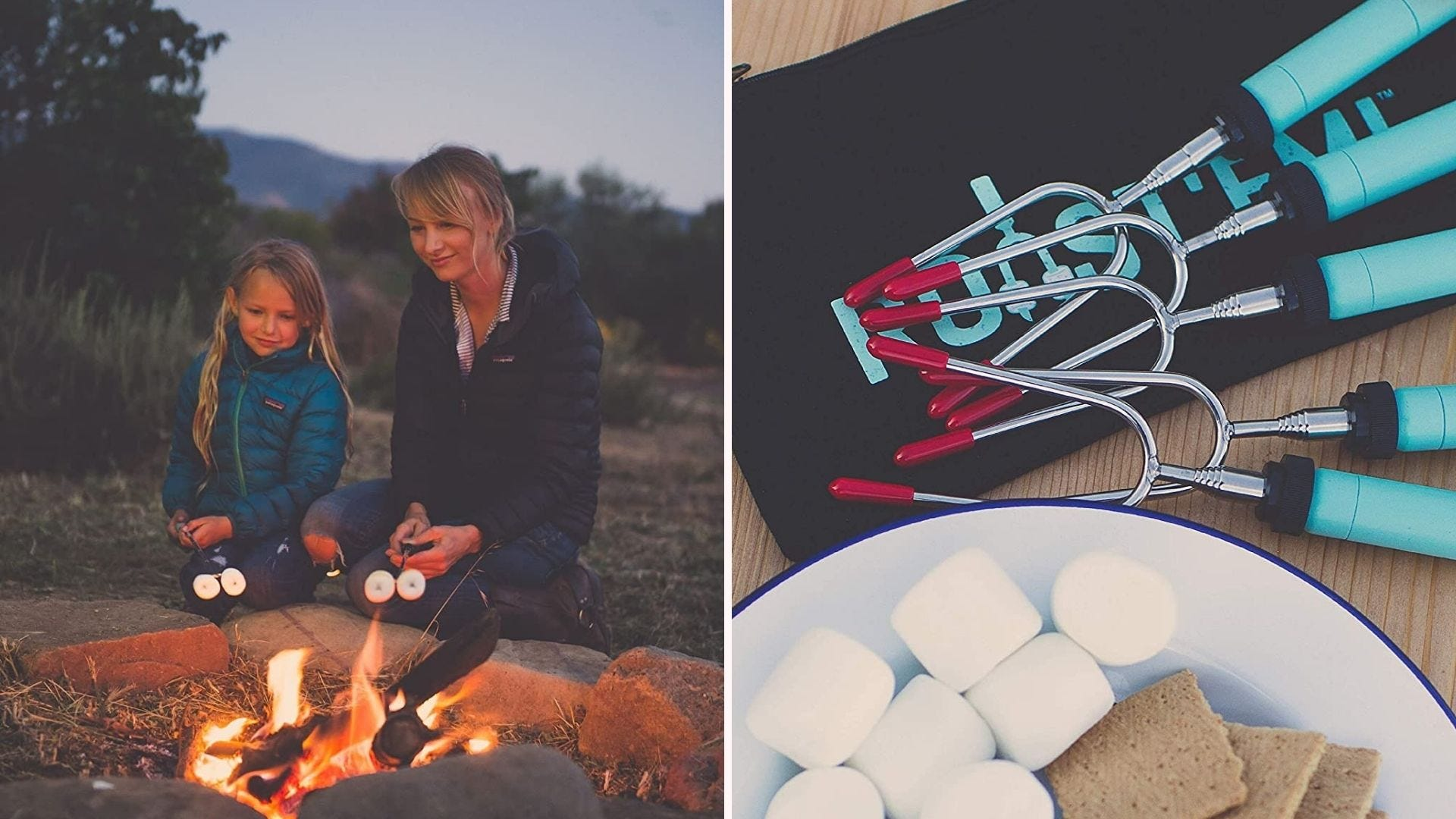 Two images: The left image features a mother and her daughter roasting marshmallows with a Jolly Green marshmallow sticks and the right image features a pack of new marshmallow sticks along side of a plate of s'mores ingredients.