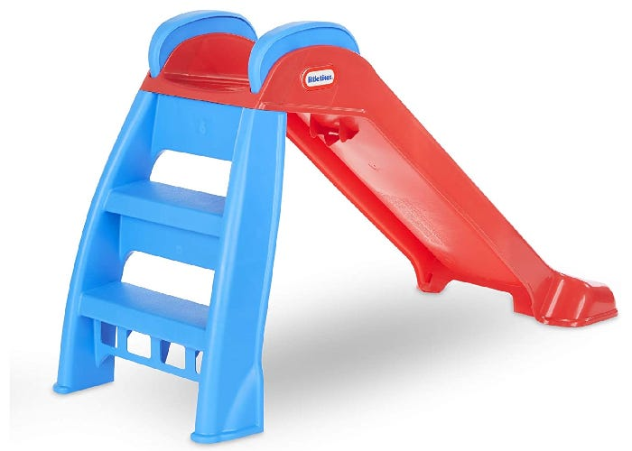 red and blue toddler slide with a ladder up to it