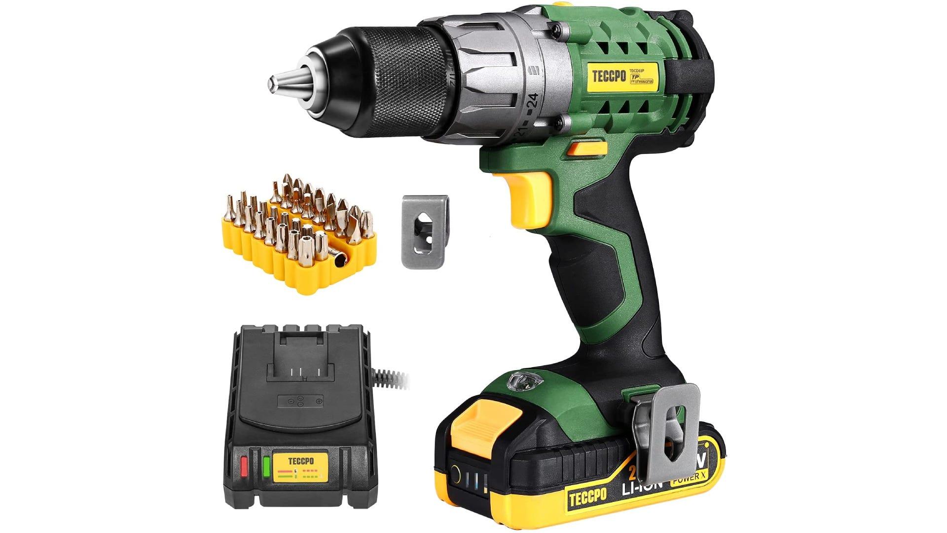 Black 20V cordless drill with metal keyless chuck, two batteries, and a variety of bits