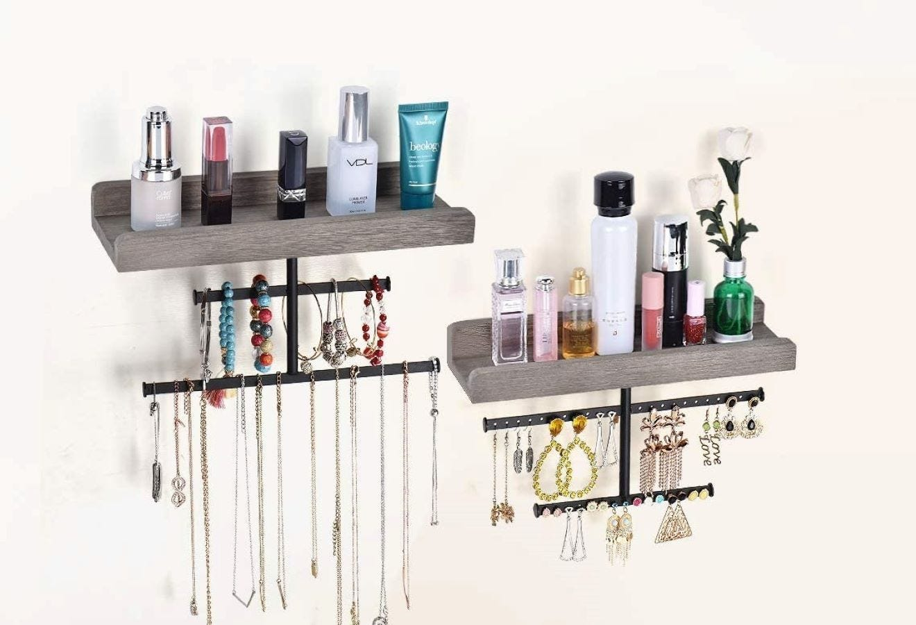 The Hanging Wall Mounted Jewelry Organizer in weathered gray.