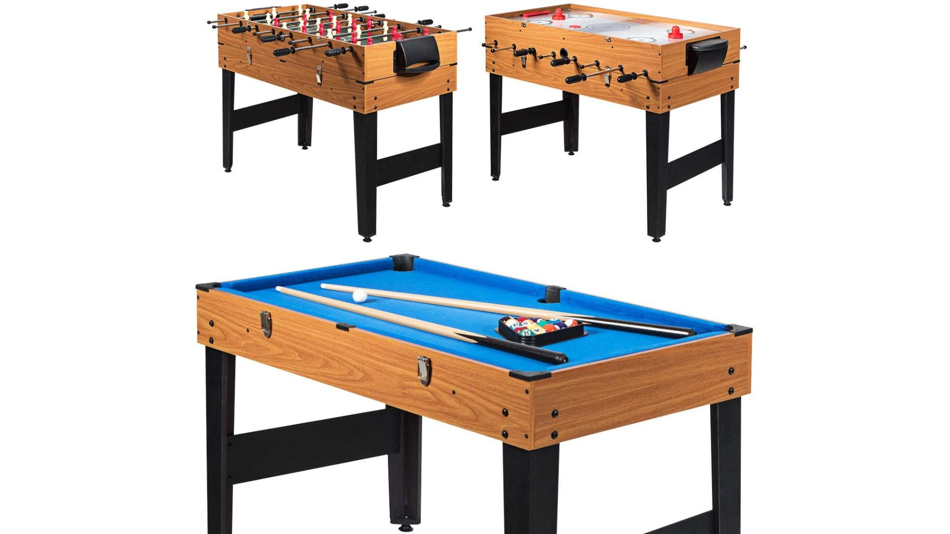 3-in-1 wooden foosball combination gaming table with black legs