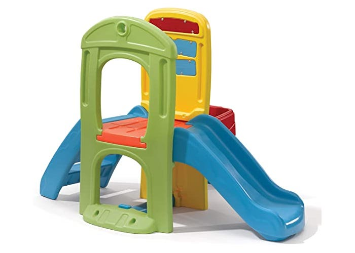 colorful toddler slide with an attached playhouse